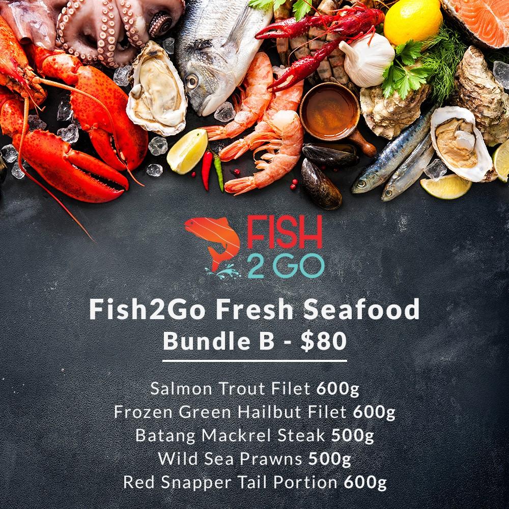 Bundle B - Salmon Trout Filet 600g, Batang Steak 500g, Wild Sea Prawns 500g, Red Snapper Tail Portion 600g, Frozen Halibut Filet 600g