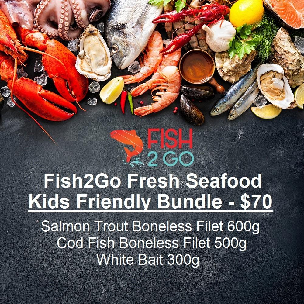 Kids Friendly Bundle  - Salmon Trout Boneless Filet 600g Cod Fish Boneless Filet 500g White Bait 300g
